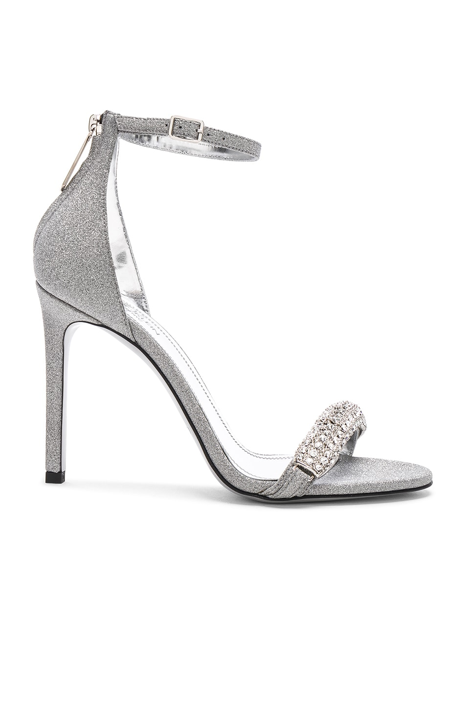 Image 2 of CALVIN KLEIN 205W39NYC Camelle Diamond & Swarovski Embellished Sandals in Silver
