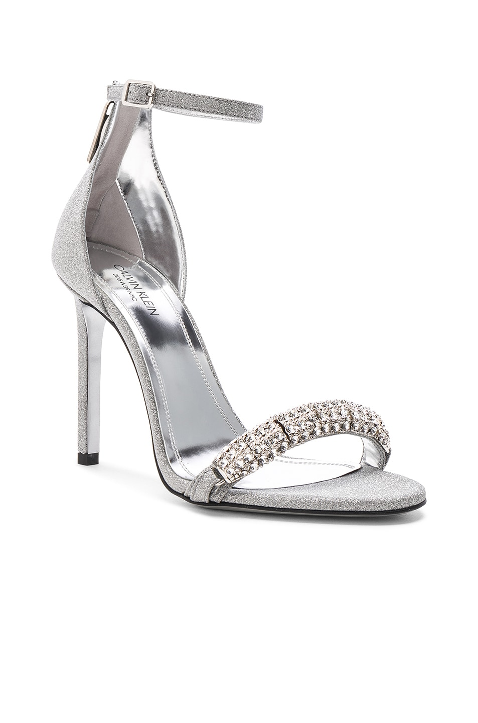 Image 3 of CALVIN KLEIN 205W39NYC Camelle Diamond & Swarovski Embellished Sandals in Silver