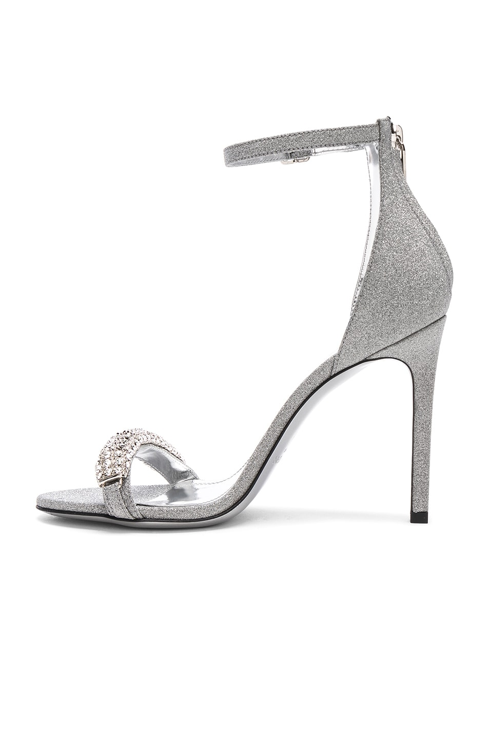 Image 5 of CALVIN KLEIN 205W39NYC Camelle Diamond & Swarovski Embellished Sandals in Silver