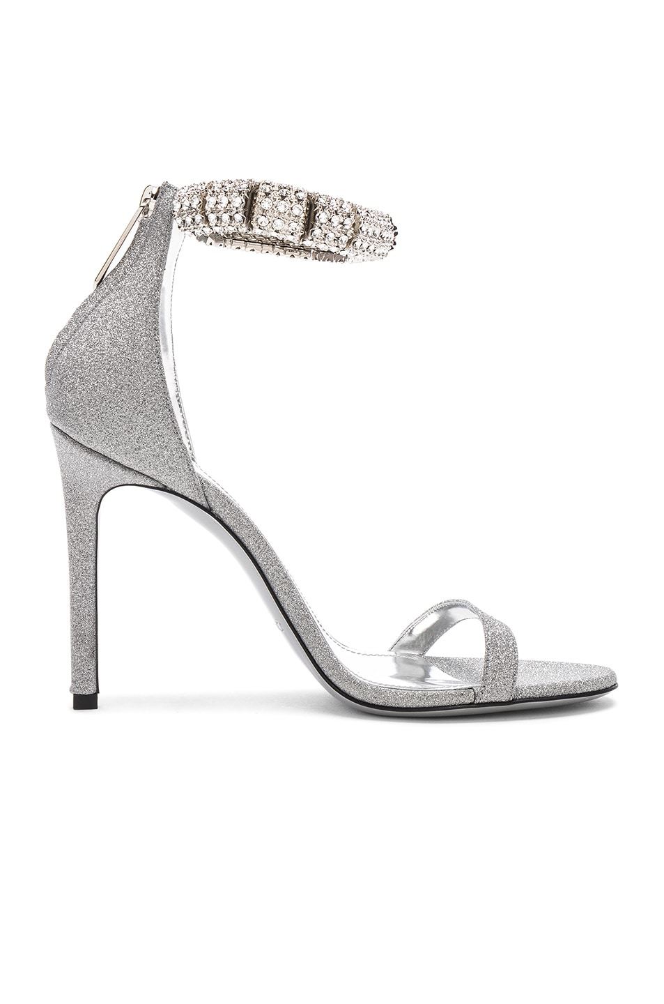 Image 6 of CALVIN KLEIN 205W39NYC Camelle Diamond & Swarovski Embellished Sandals in Silver