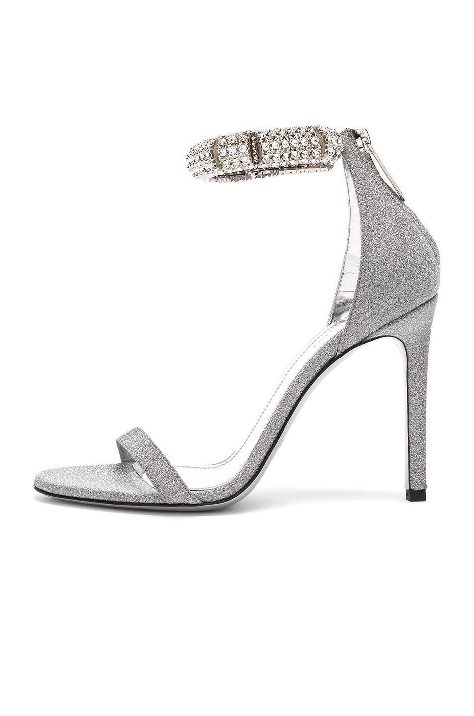 Image 7 of CALVIN KLEIN 205W39NYC Camelle Diamond & Swarovski Embellished Sandals in Silver