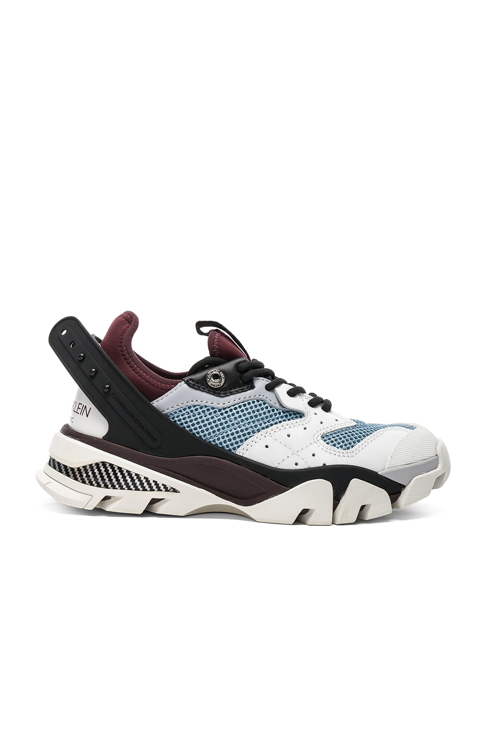 Image 1 of CALVIN KLEIN 205W39NYC Leather Carla Sneakers in White, Azure & Burgundy