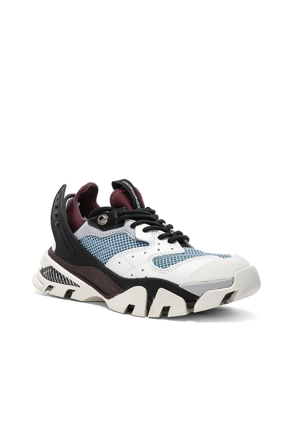 Image 2 of CALVIN KLEIN 205W39NYC Leather Carla Sneakers in White, Azure & Burgundy
