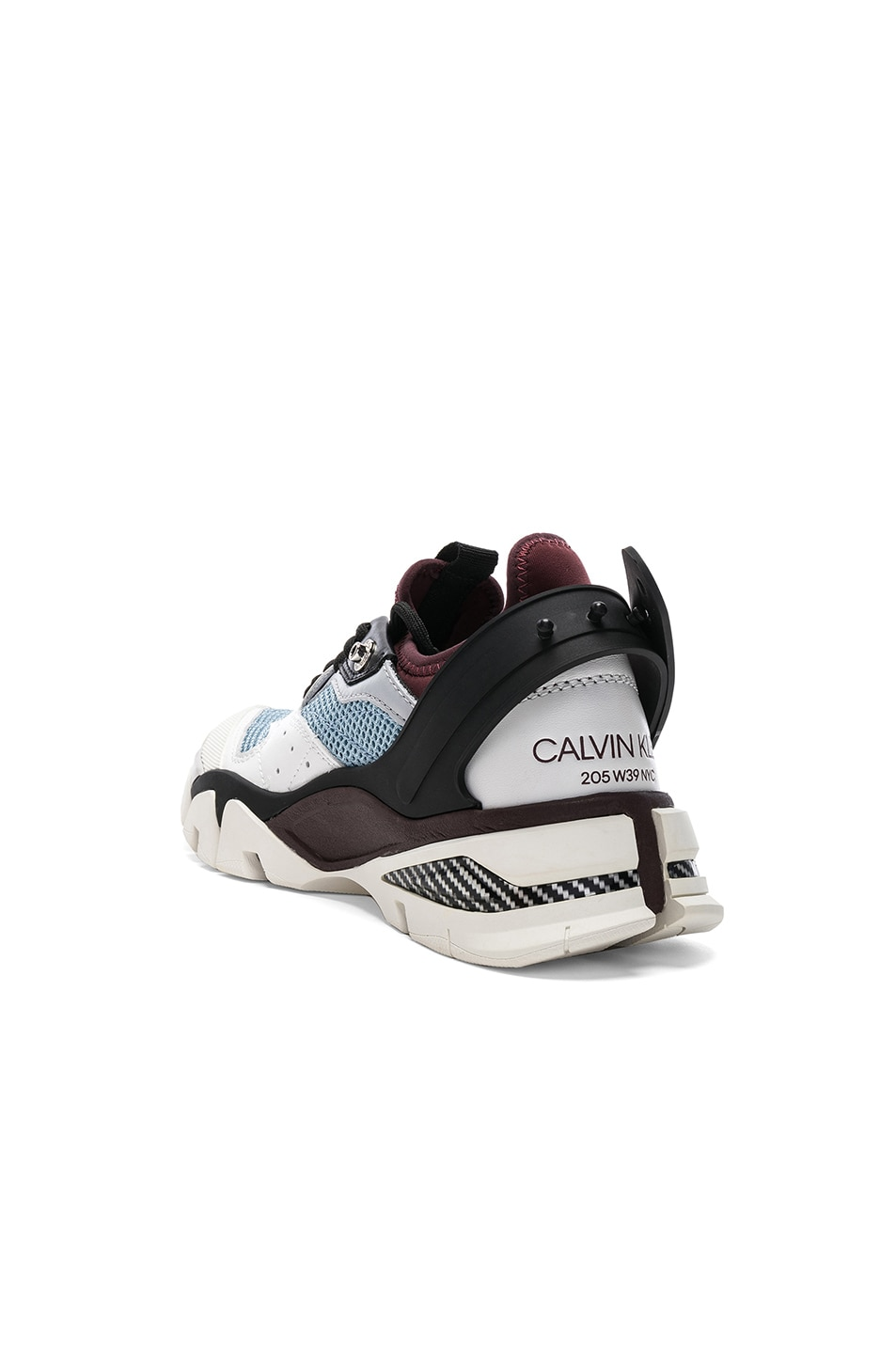 Image 3 of CALVIN KLEIN 205W39NYC Leather Carla Sneakers in White, Azure & Burgundy