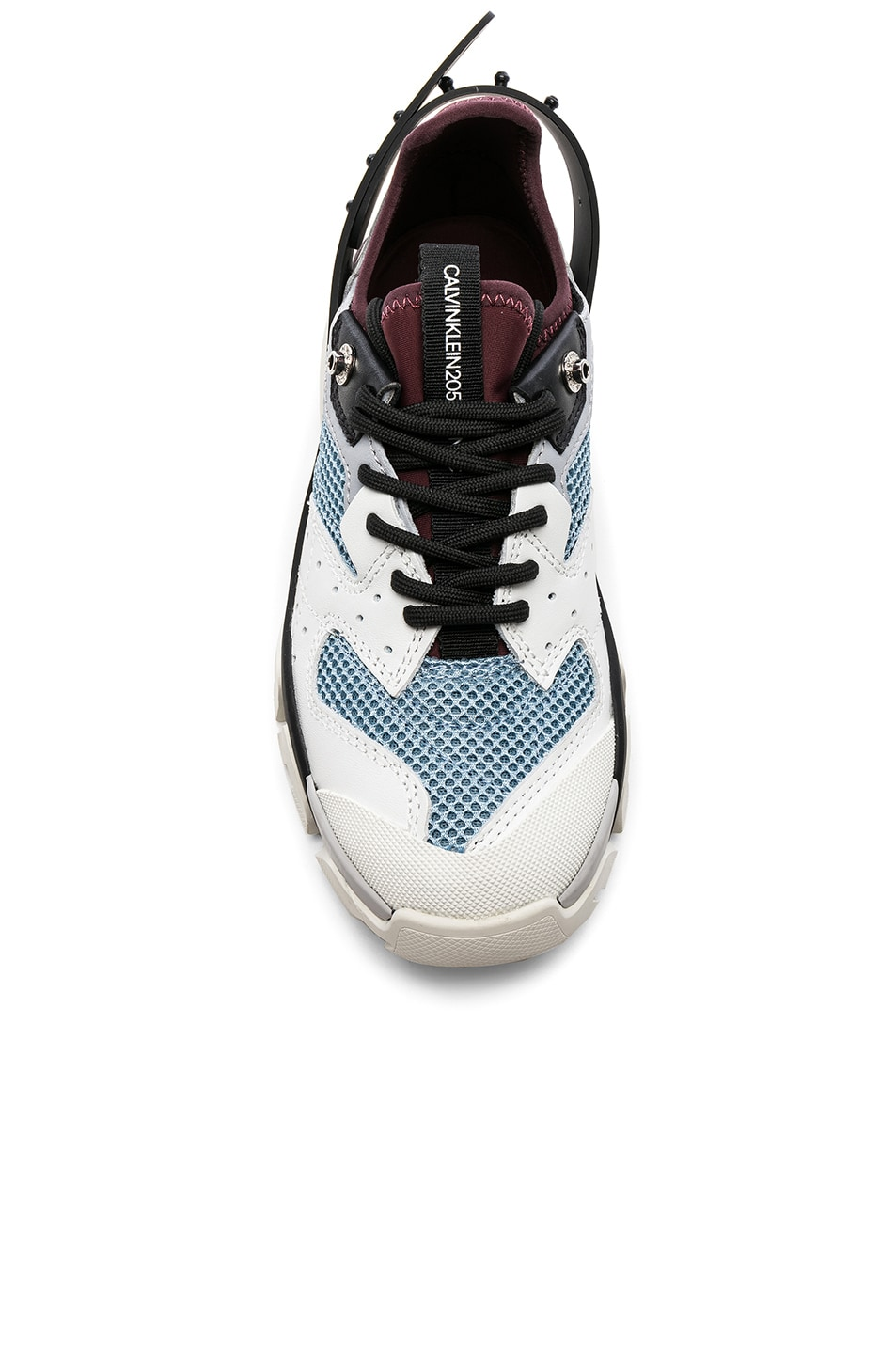 Image 4 of CALVIN KLEIN 205W39NYC Leather Carla Sneakers in White, Azure & Burgundy