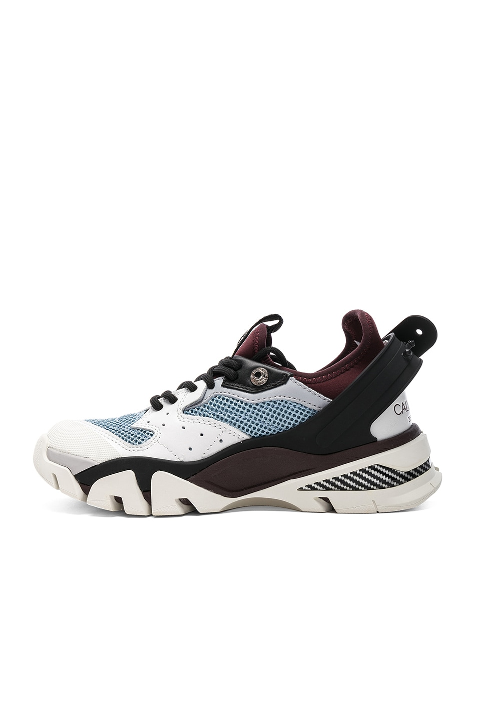 Image 5 of CALVIN KLEIN 205W39NYC Leather Carla Sneakers in White, Azure & Burgundy