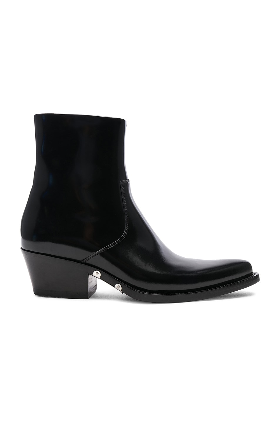 Image 1 of CALVIN KLEIN 205W39NYC Leather Short Western Boots in Black