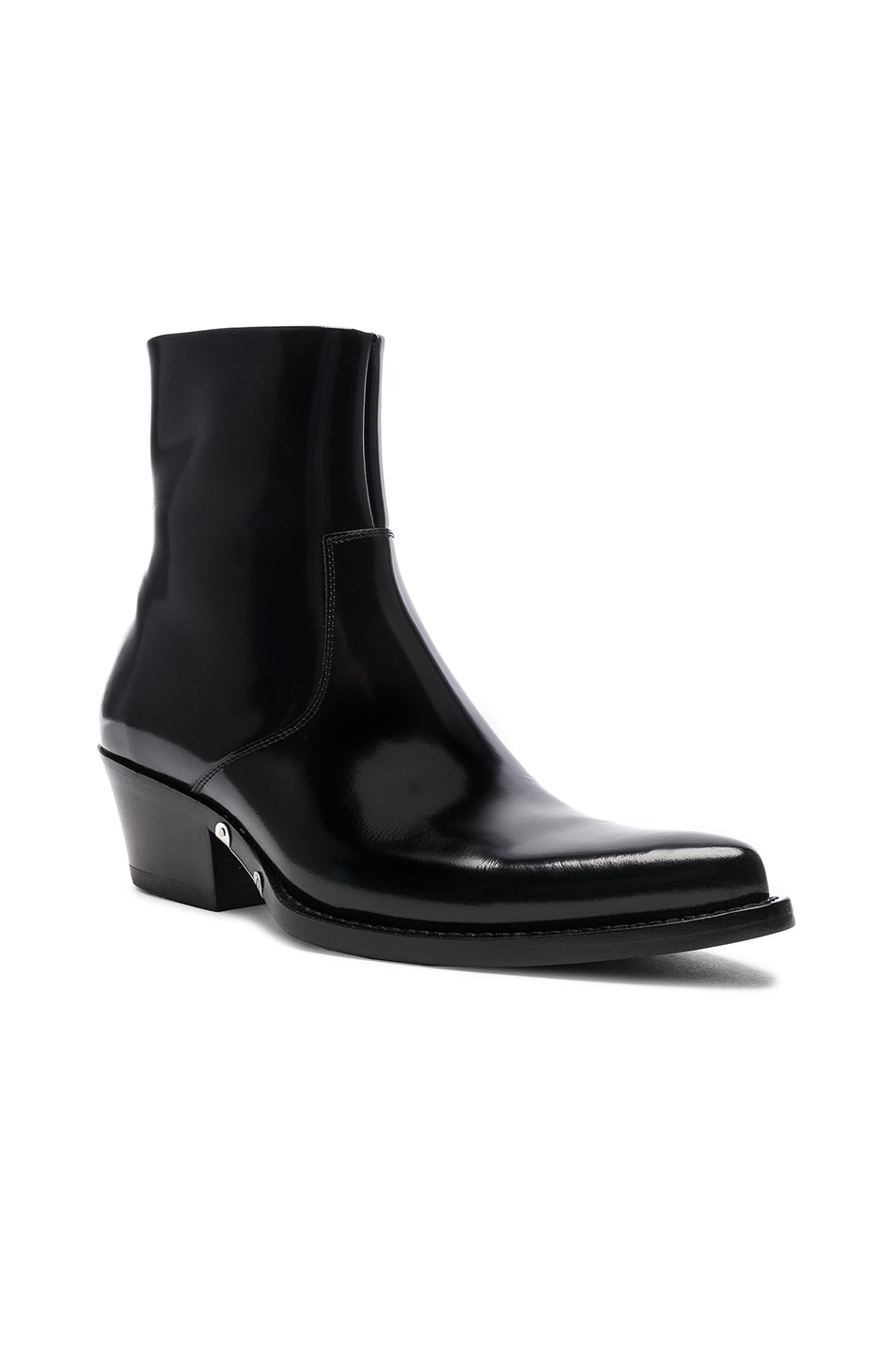 Image 2 of CALVIN KLEIN 205W39NYC Leather Short Western Boots in Black