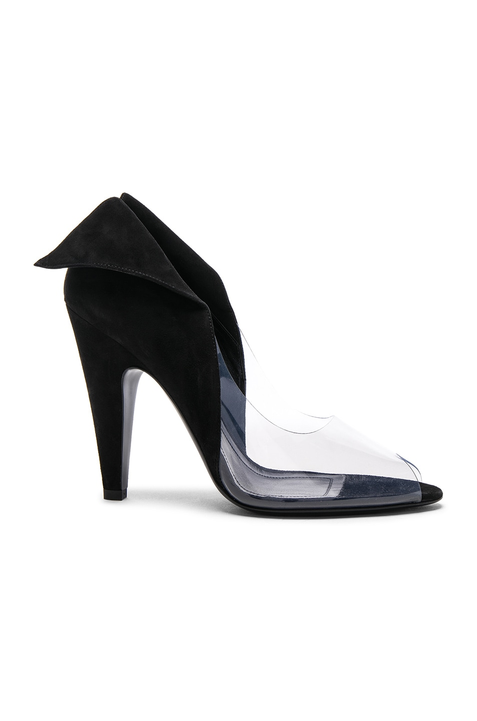 Image 1 of CALVIN KLEIN 205W39NYC Suede & Vinyl Kahlo Heels in Black & Clear
