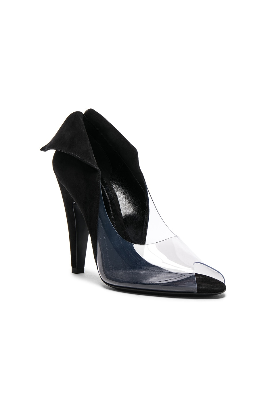 Image 2 of CALVIN KLEIN 205W39NYC Suede & Vinyl Kahlo Heels in Black & Clear