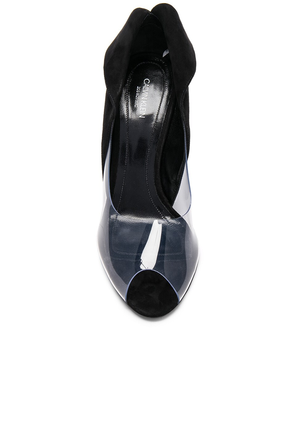 Image 4 of CALVIN KLEIN 205W39NYC Suede & Vinyl Kahlo Heels in Black & Clear