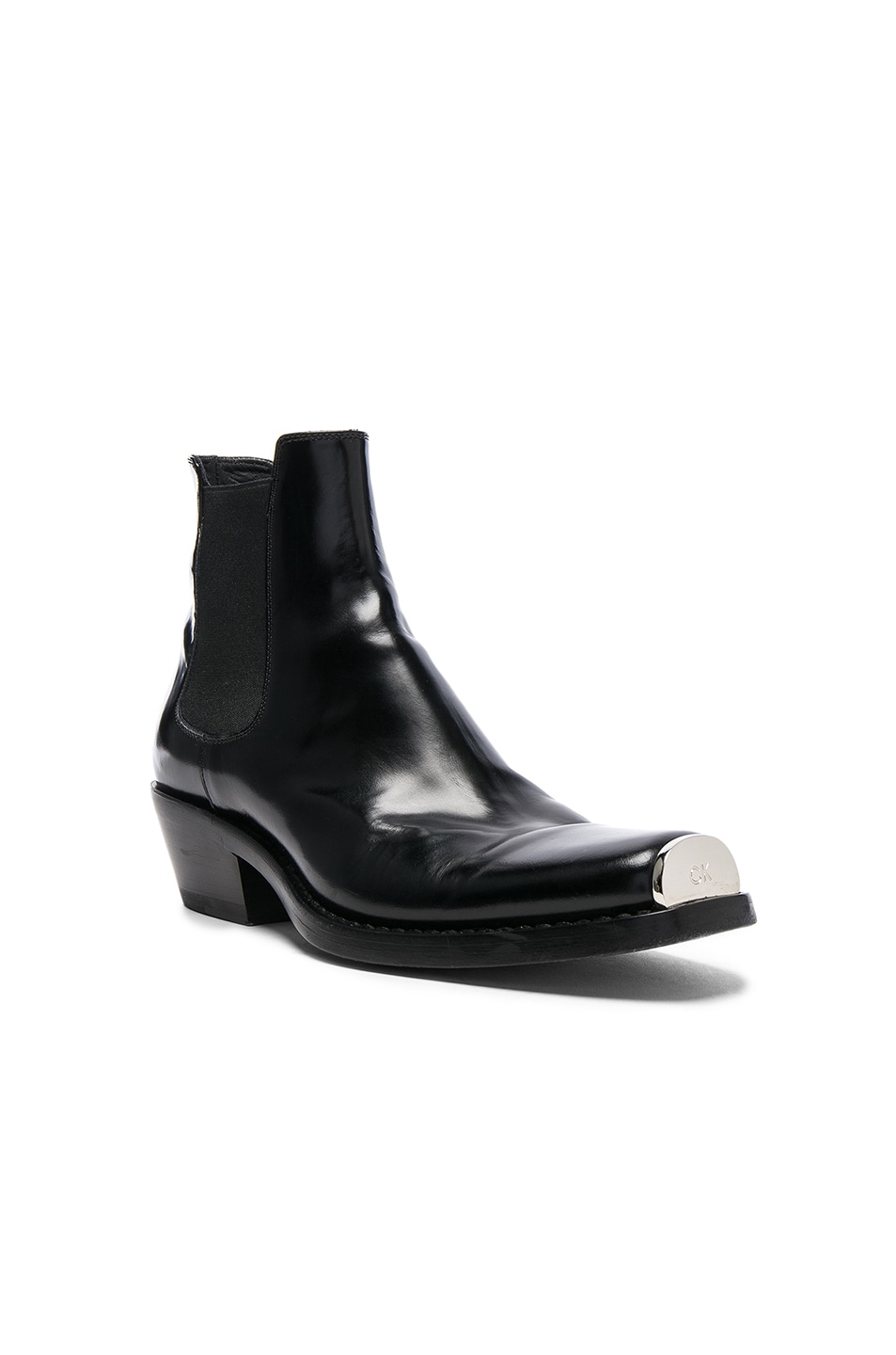 77352033ee9 CALVIN KLEIN 205W39NYC Claire Leather Western Ankle Boots in Black ...