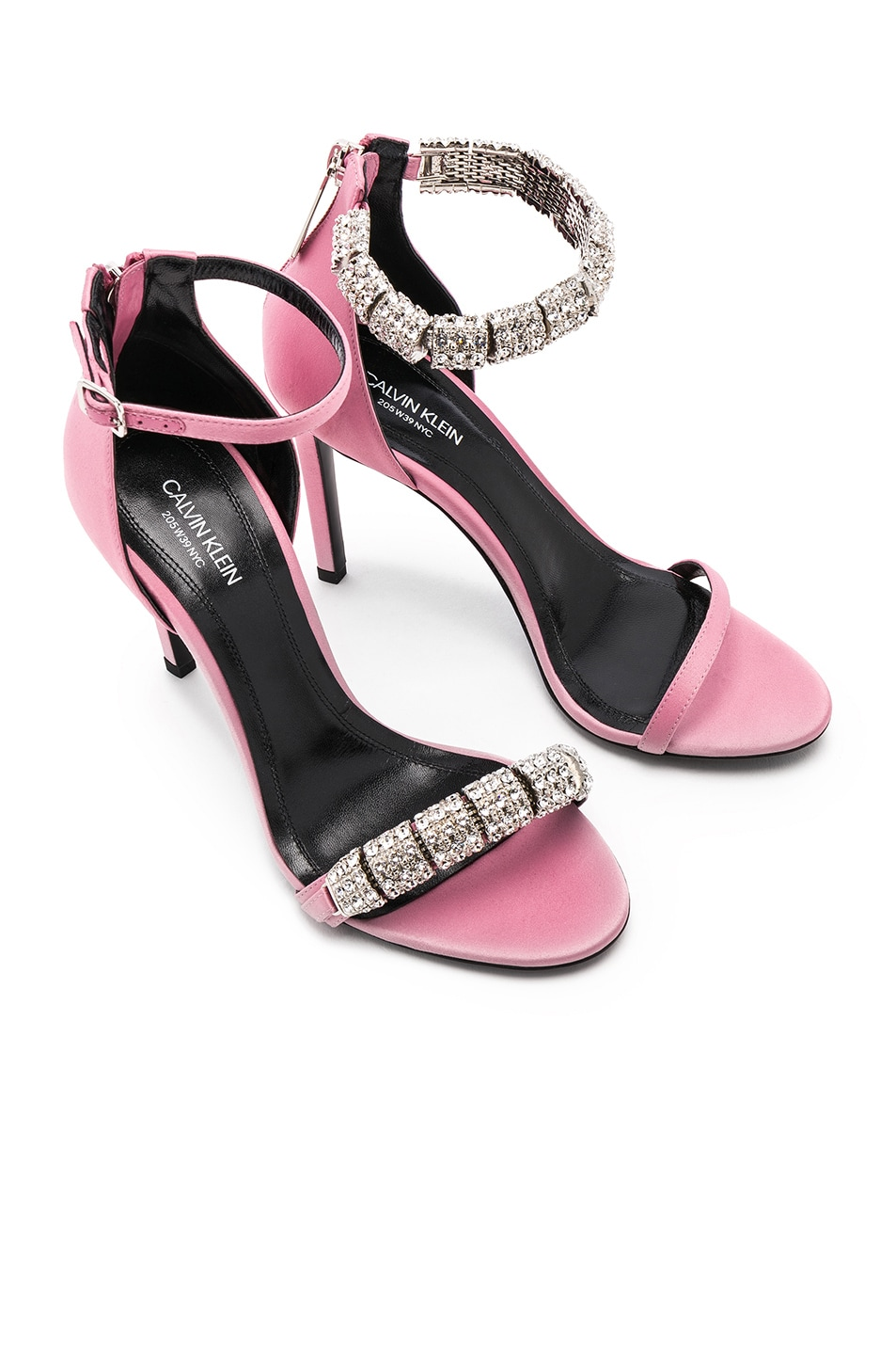 6801b6fab261e6 Image 1 of CALVIN KLEIN 205W39NYC Satin Camelle 501 Sandals in Rose