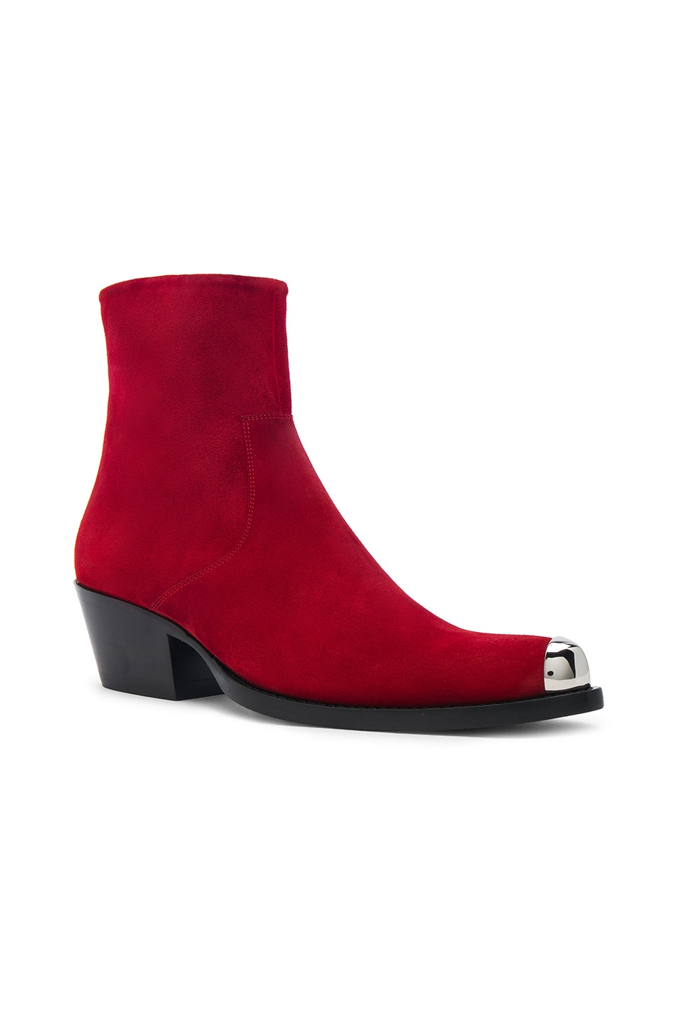 Image 2 of CALVIN KLEIN 205W39NYC Suede Tex Chiara Ankle Boots in Red