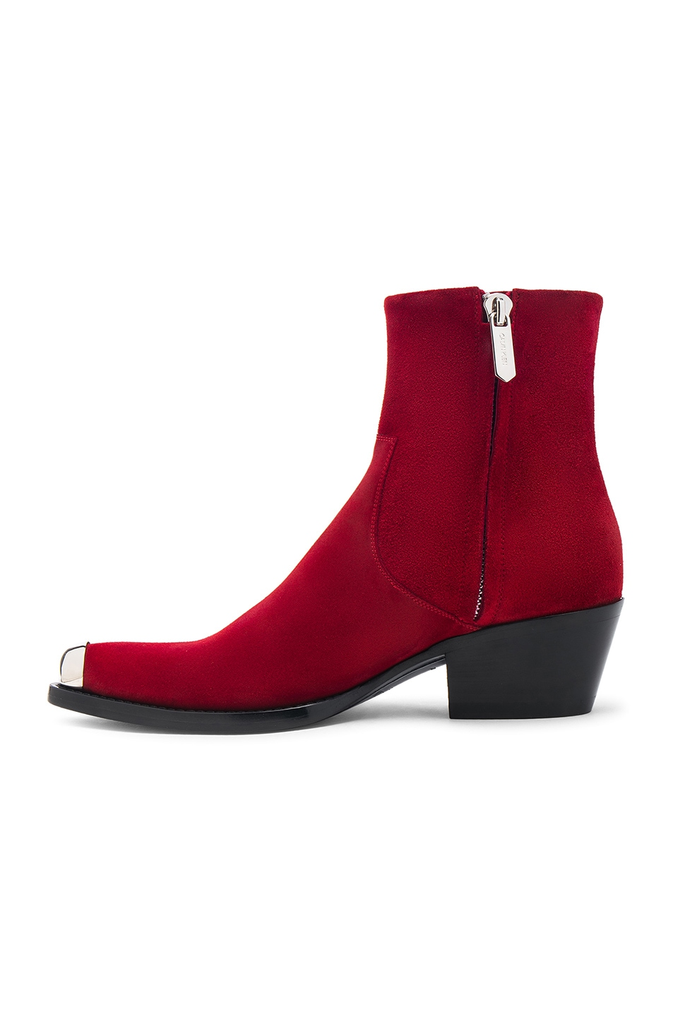 Image 5 of CALVIN KLEIN 205W39NYC Suede Tex Chiara Ankle Boots in Red