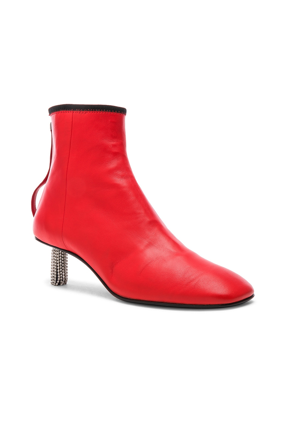 Image 2 of CALVIN KLEIN 205W39NYC Grainne Leather Crystal Heel Ankle Boots in Bright Red & Black