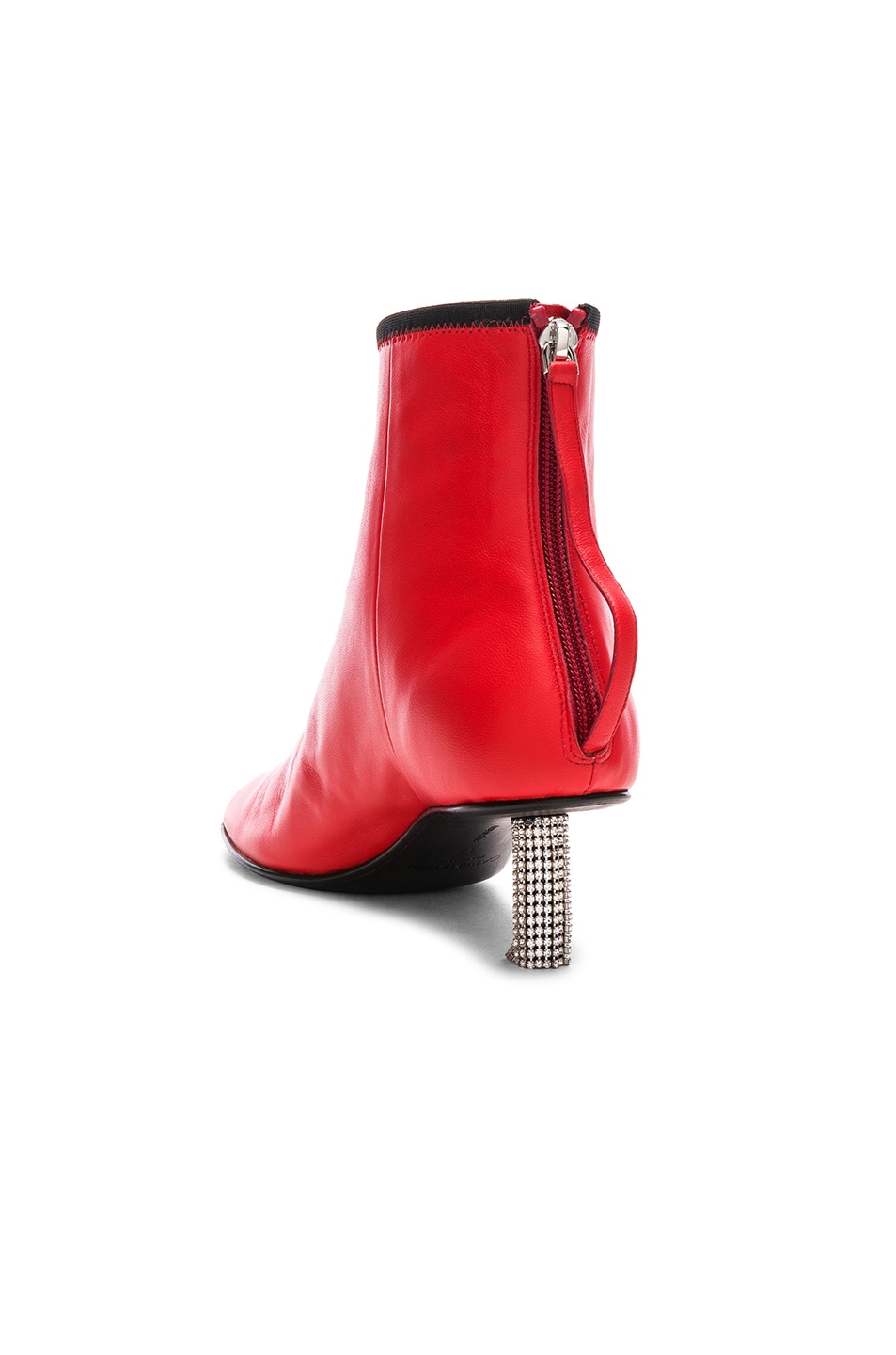 Image 3 of CALVIN KLEIN 205W39NYC Grainne Leather Crystal Heel Ankle Boots in Bright Red & Black