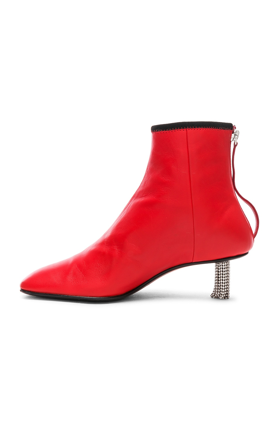 Image 5 of CALVIN KLEIN 205W39NYC Grainne Leather Crystal Heel Ankle Boots in Bright Red & Black