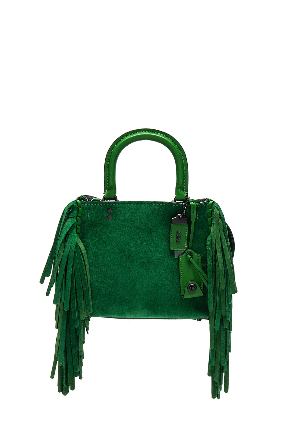 Image 1 Of Coach 1941 Suede Fringe Rogue Bag In Kelly Green