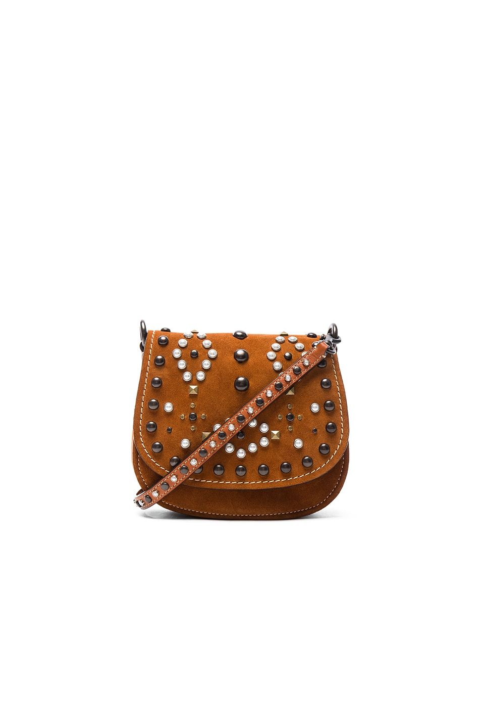 Image 1 of Coach 1941 Suede Western Rivets Saddle Bag 17 in Ginger