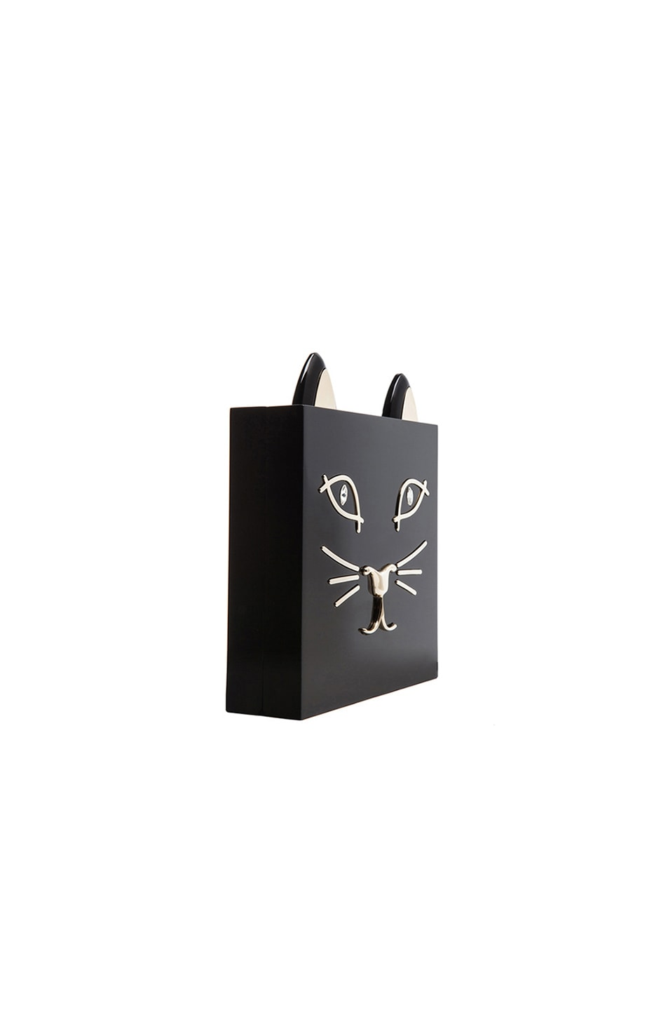 Image 4 of Charlotte Olympia Kitty Clutch in Black
