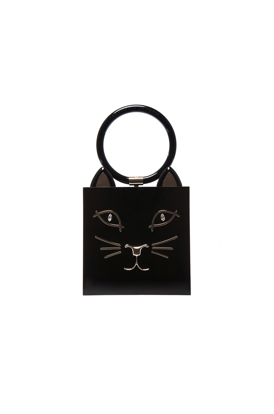Image 6 of Charlotte Olympia Kitty Clutch in Black