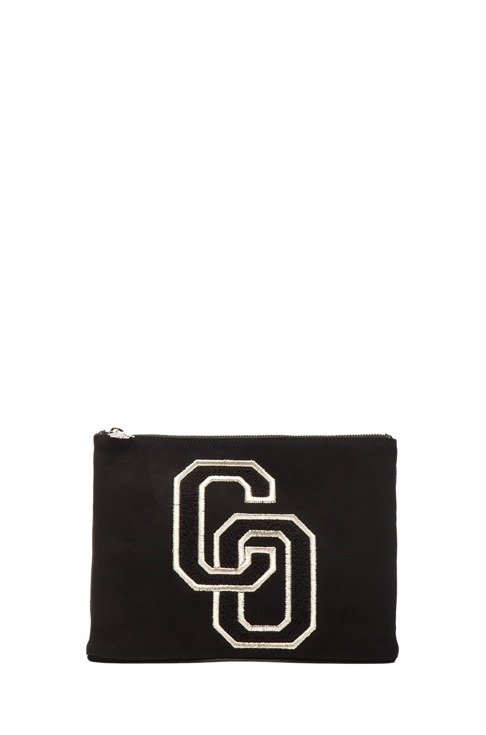 Image 1 of Charlotte Olympia Suede Varsity Purse in Black