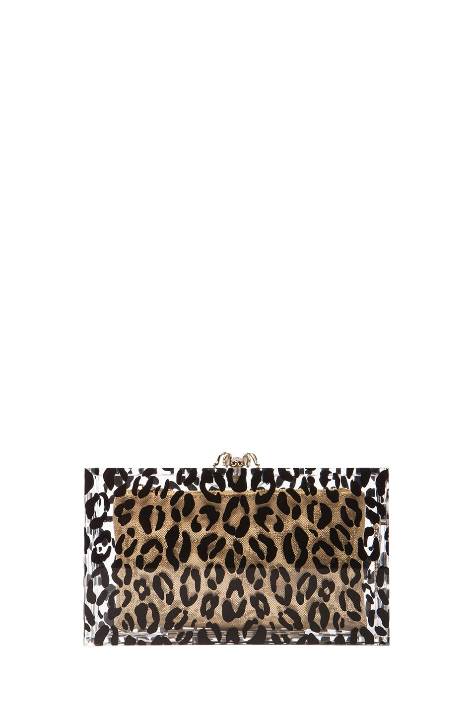 Image 1 of Charlotte Olympia Pandora Clutch in Transparent Leopard