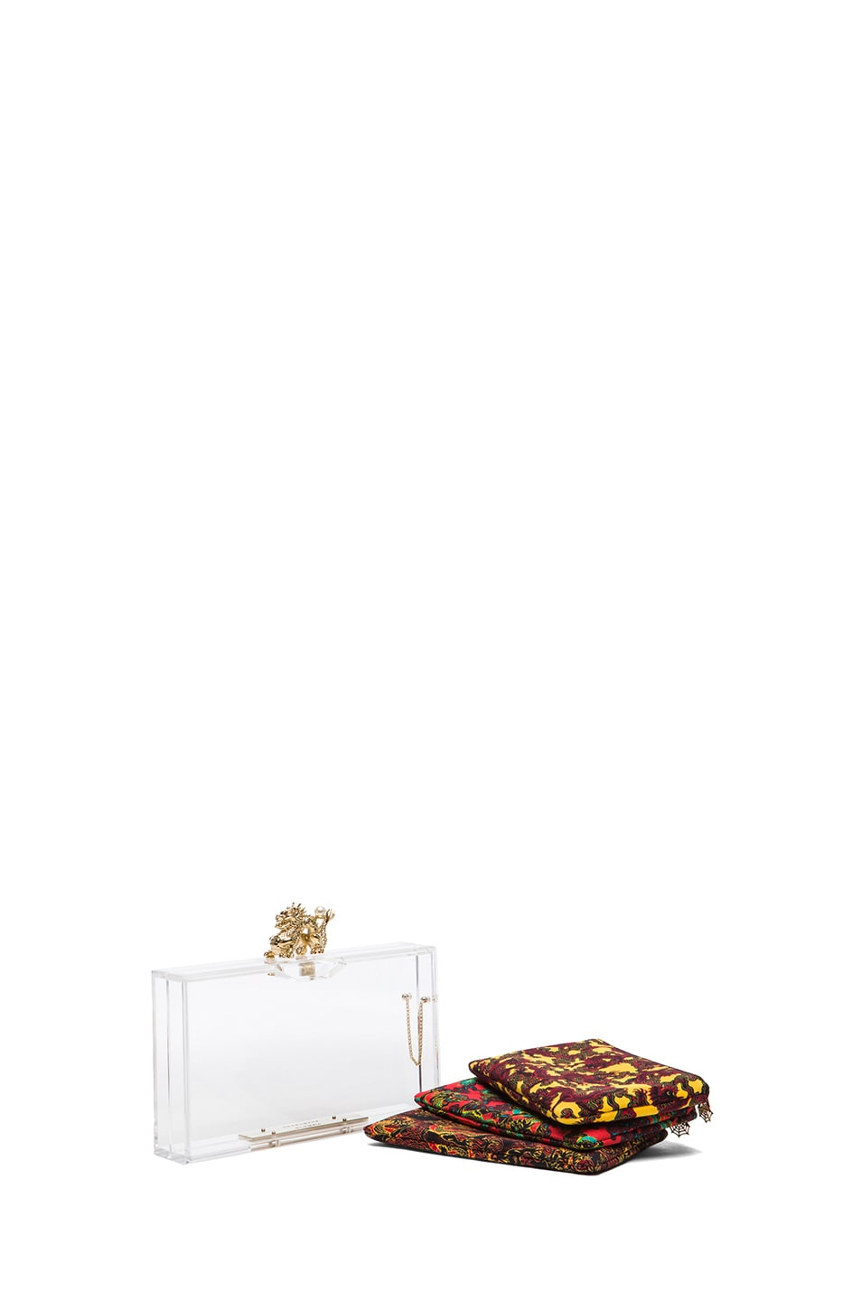 Image 1 of Charlotte Olympia Dragon Pandora Clutch in Transparent