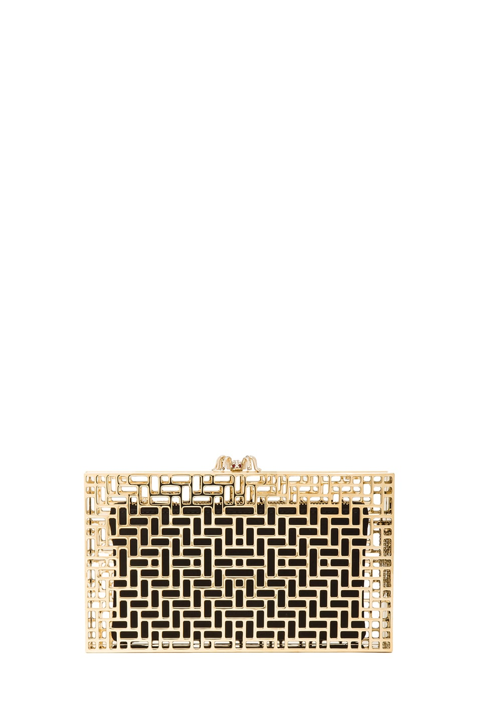 Image 1 of Charlotte Olympia Lattice Pandora Clutch in Gold