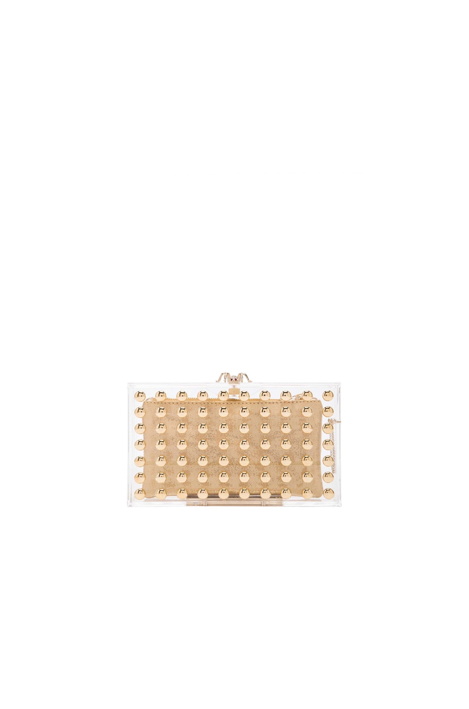 Image 1 of Charlotte Olympia Studded Pandora Clutch in Gold & Transparent