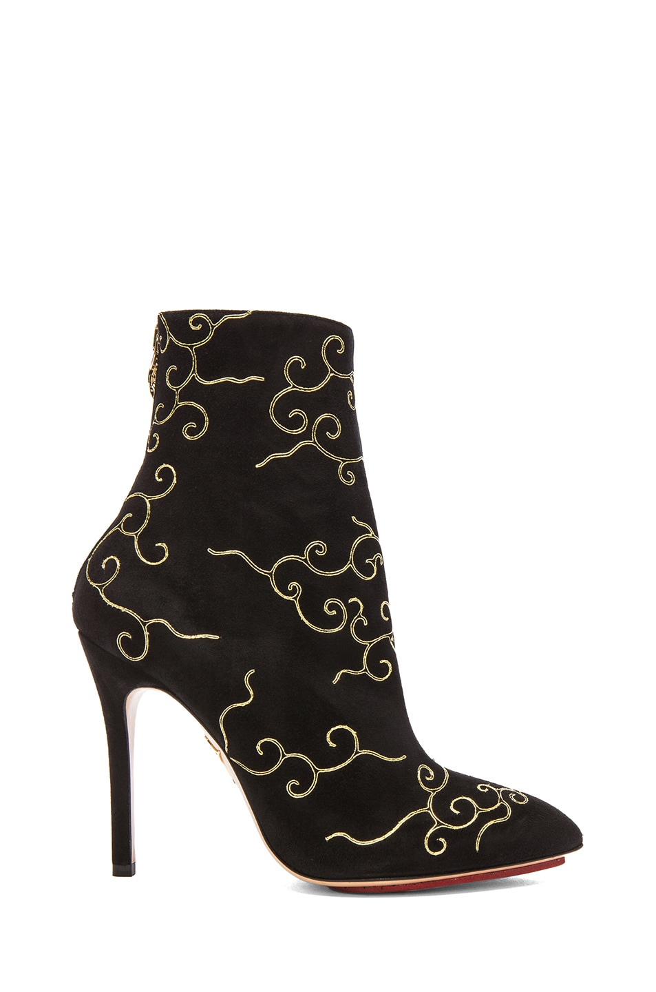 Image 1 of Charlotte Olympia Betsy Suede Booties in Onyx