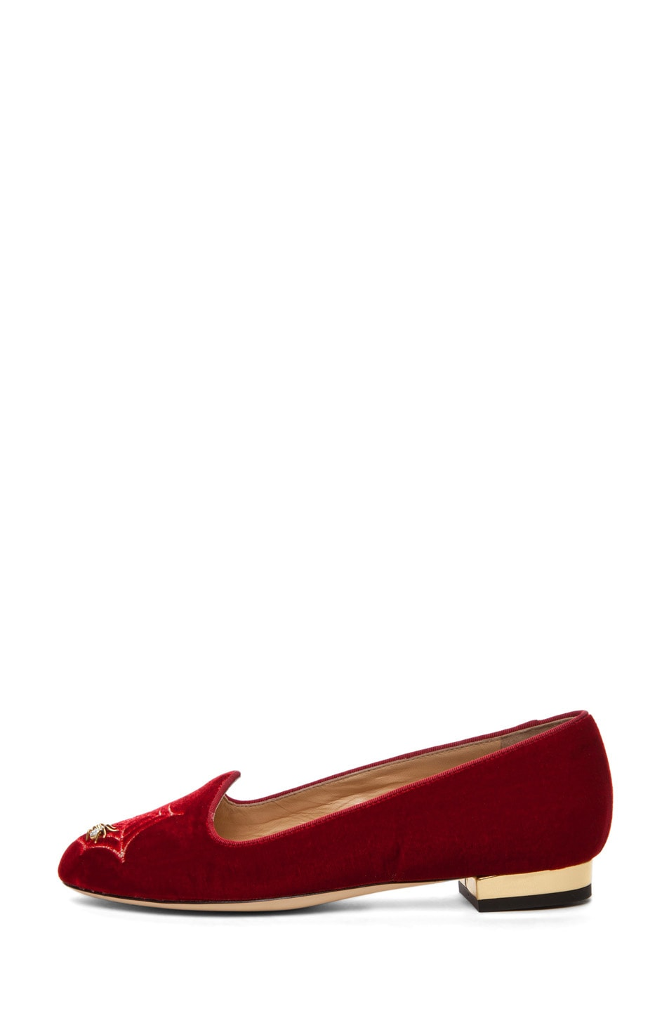 Image 1 of Charlotte Olympia Charlotte's Web Smoking Slipper with Crystal Detailing in Red