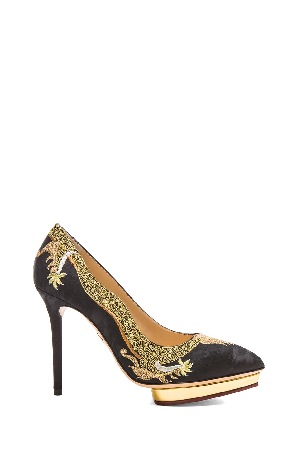 Image 1 of Charlotte Olympia Auspicious Debbie Silk Satin Pumps in Onyx