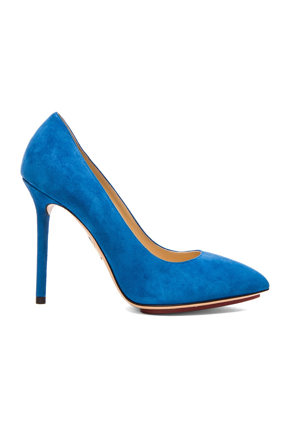 Image 1 of Charlotte Olympia Monroe Suede Pumps in Cobalt Blue