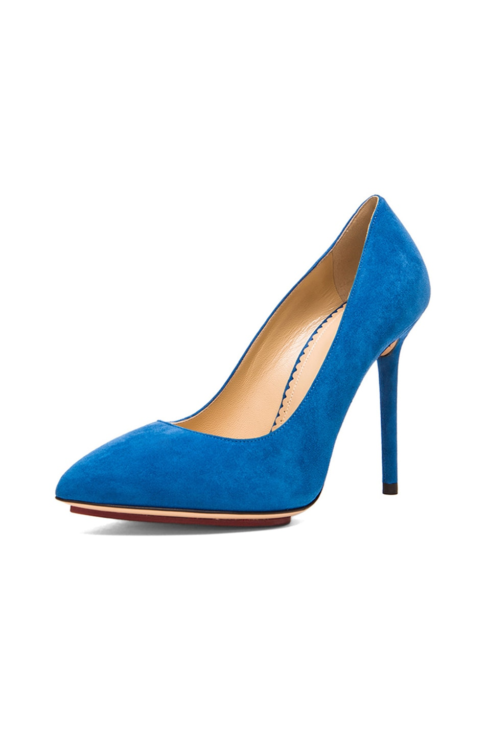 Image 2 of Charlotte Olympia Monroe Suede Pumps in Cobalt Blue