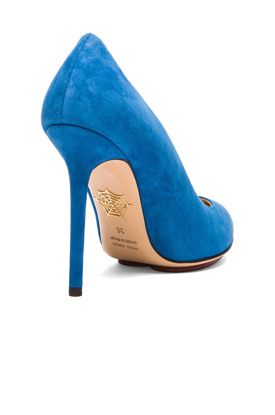Image 3 of Charlotte Olympia Monroe Suede Pumps in Cobalt Blue