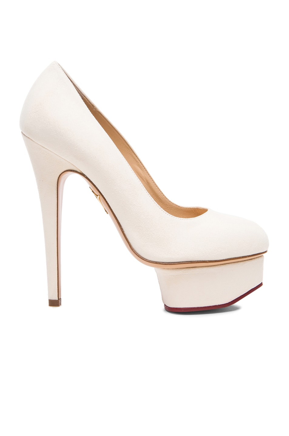 Image 1 of Charlotte Olympia Hot Dolly Suede Pumps in Blanca