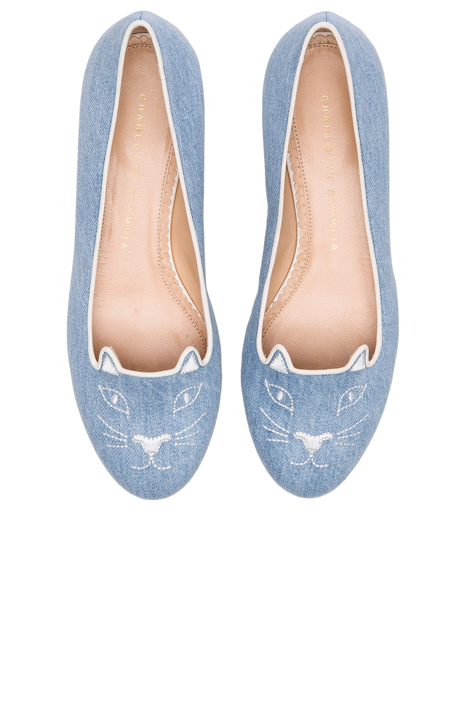 Image 1 of Charlotte Olympia Kitty Denim Flats in Washed Denim