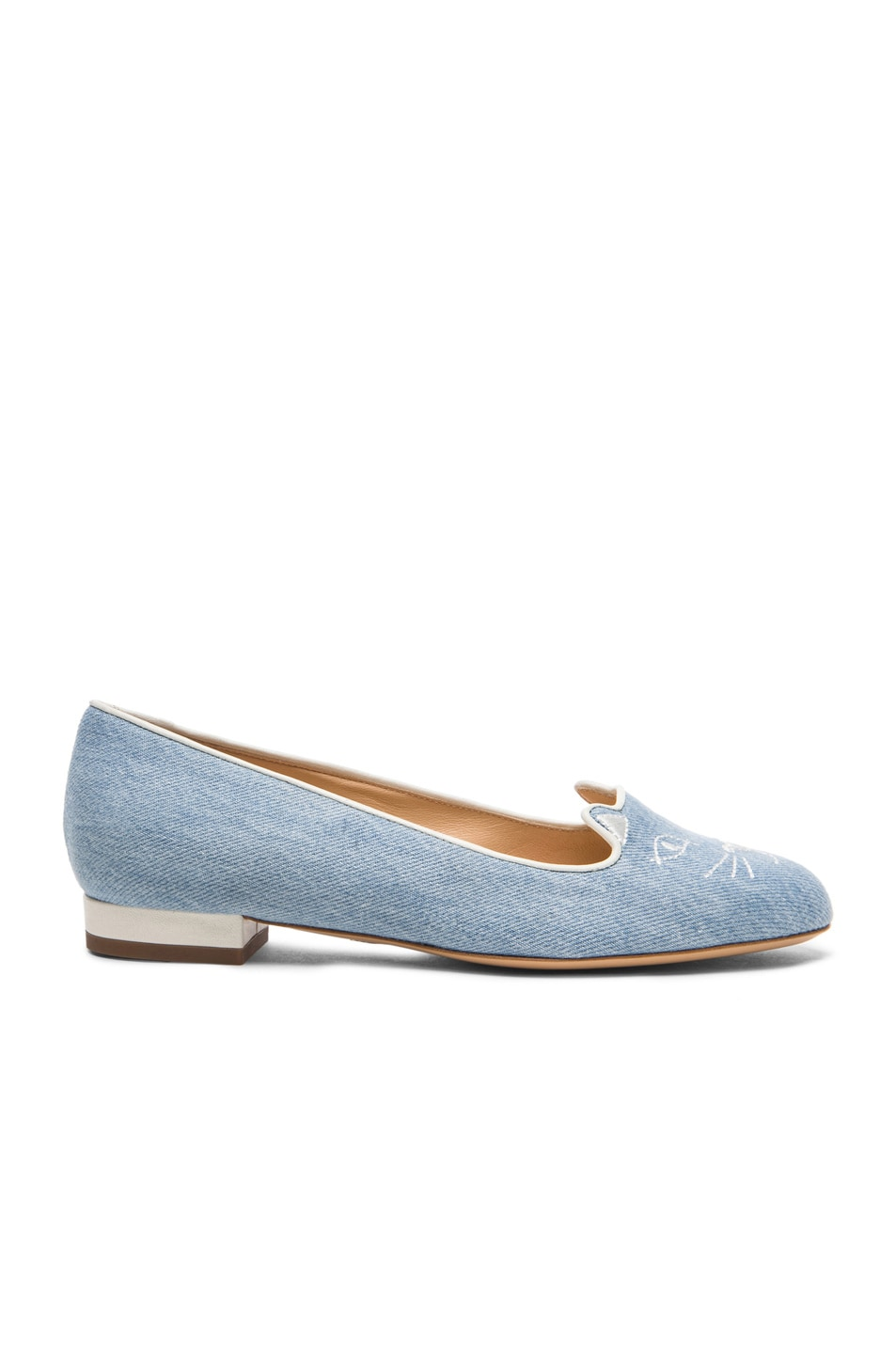 Image 2 of Charlotte Olympia Kitty Denim Flats in Washed Denim