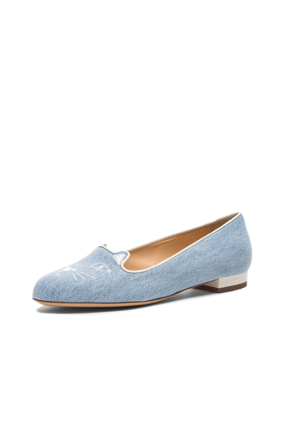 Image 3 of Charlotte Olympia Kitty Denim Flats in Washed Denim