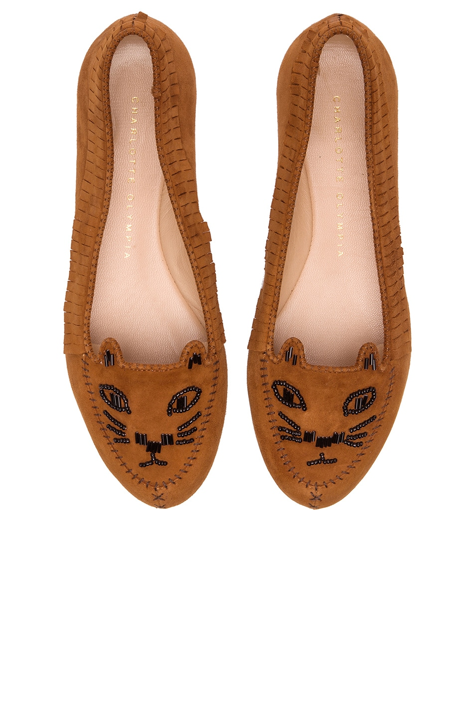 Image 1 of Charlotte Olympia Suede Kitty Moccasins in Chestnut
