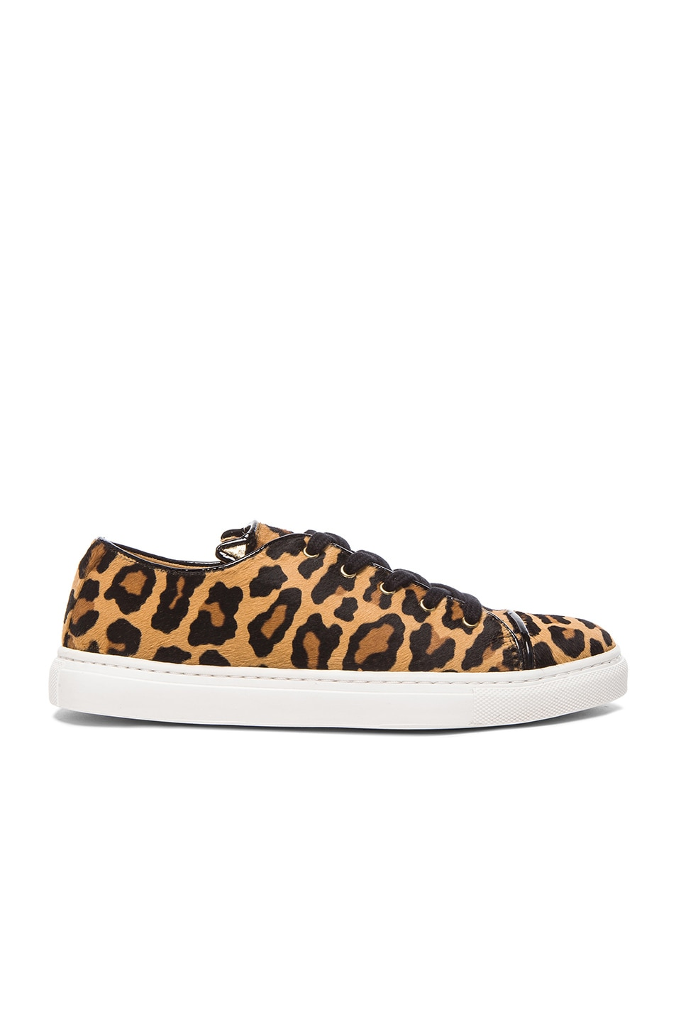 Image 1 of Charlotte Olympia Tomcat Low Top Pony Hair Sneakers in Leopard