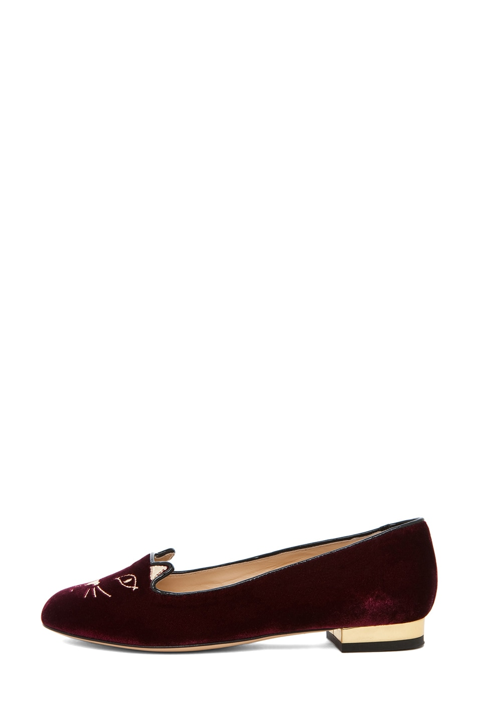 Image 1 of Charlotte Olympia Kitty Velvet Flats in Burgundy