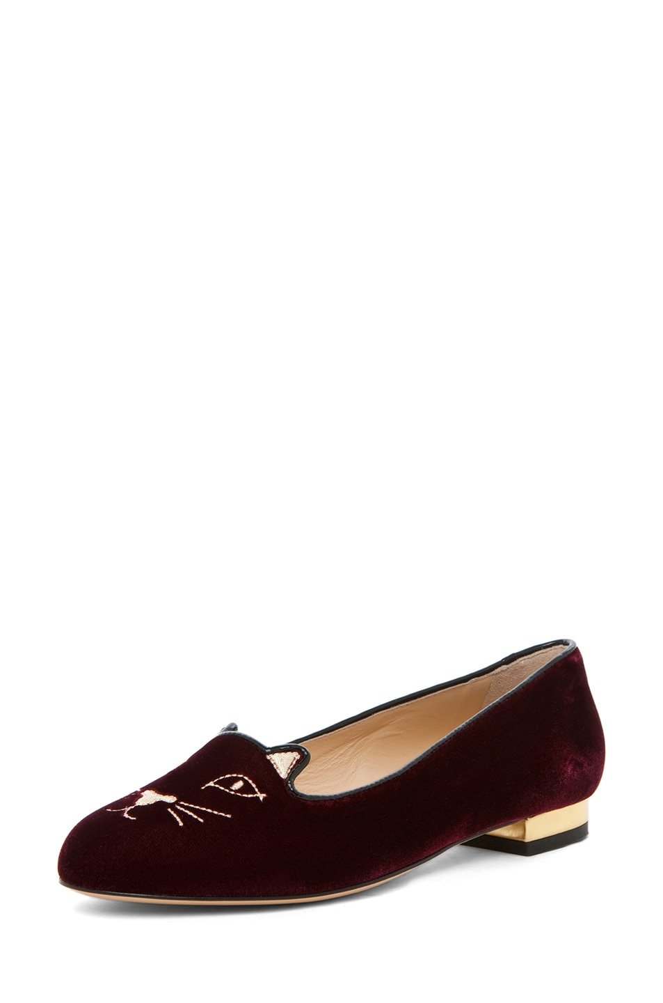 Image 2 of Charlotte Olympia Kitty Velvet Flats in Burgundy
