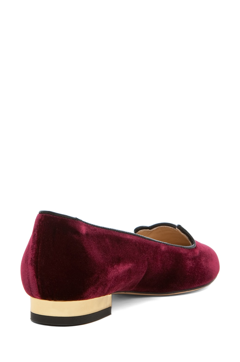 Image 3 of Charlotte Olympia Kitty Velvet Flats in Burgundy