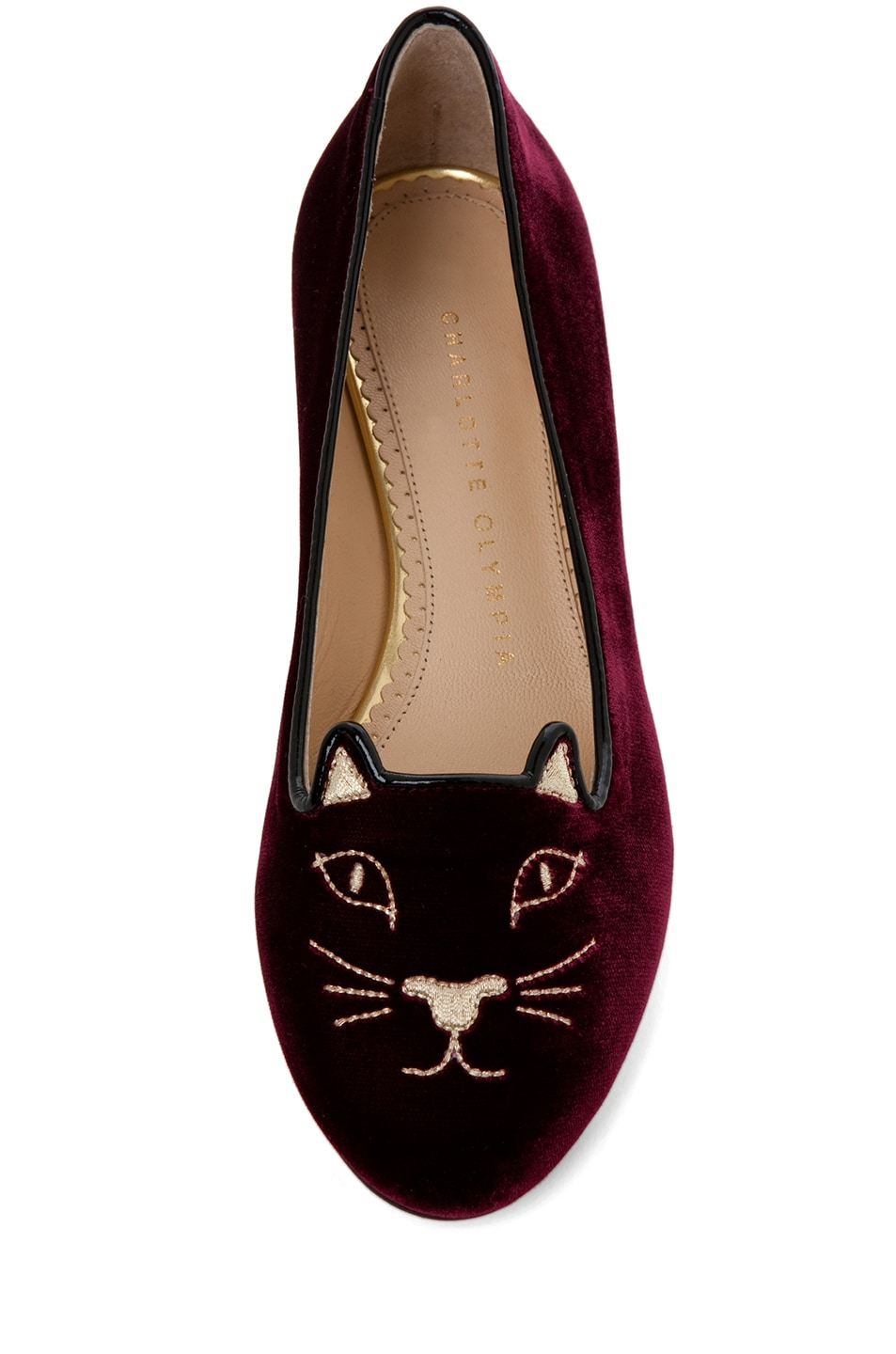 Image 4 of Charlotte Olympia Kitty Velvet Flats in Burgundy