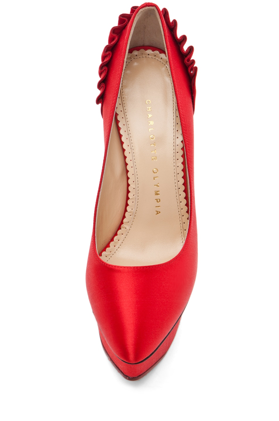 Image 4 of Charlotte Olympia Paloma Signature Court Island Satin Pumps in Red