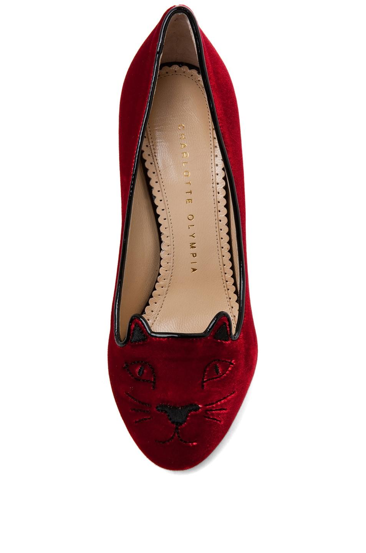 Image 4 of Charlotte Olympia Kitty Velvet Pumps in Red Velvet
