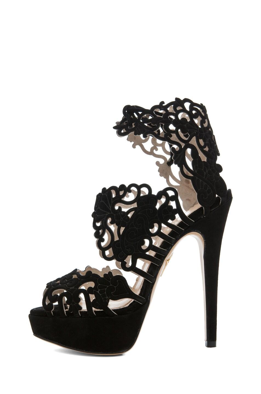 Image 1 of Charlotte Olympia Belinda Suede Platform Bootie Sandal in Black